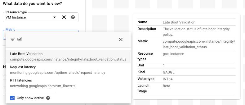 Display of the metrics filter bar.