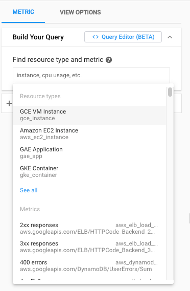 Search lists for selecting metrics and resources.