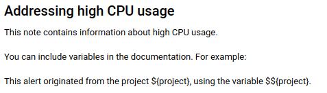 Exemplo de gravação de uma observação de documentação usando o markdown.