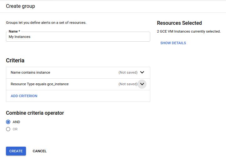 """Crie um grupo de recursos chamado """"instance""""."""