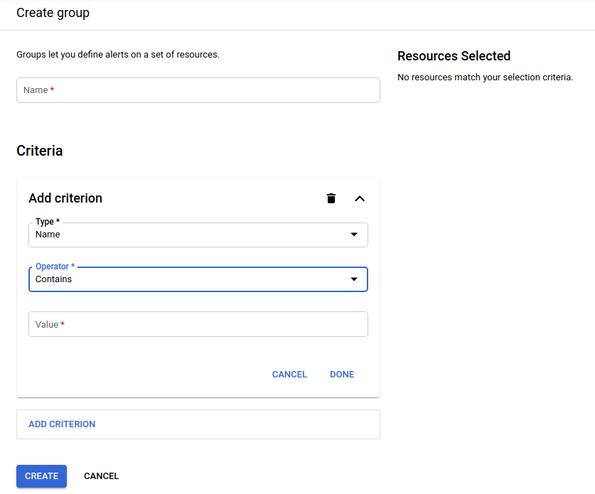 Panel de creación de grupos