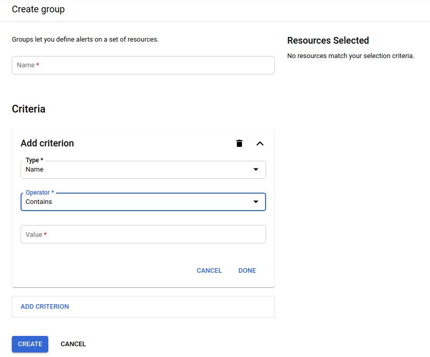 Painel de criação de grupos.