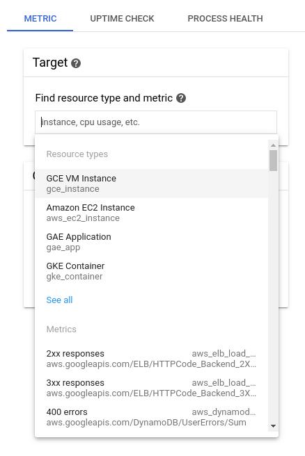 Listas de pesquisa para selecionar métricas e recursos.