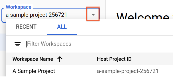 最近アクセスしたワークスペースの表示。