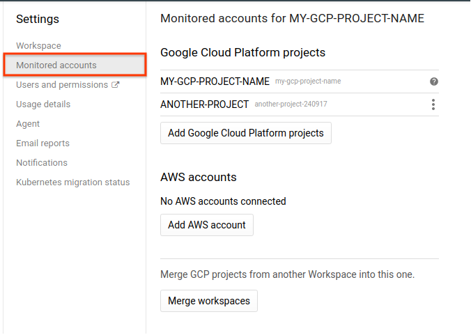 Managing Workspaces | Stackdriver Monitoring | Google Cloud