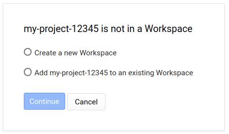 my-project-12345 no es un lugar de trabajo