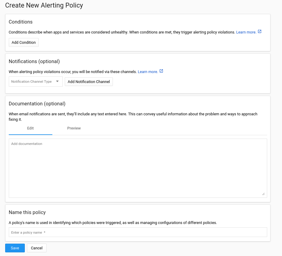 Alert-policy creation page