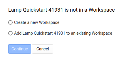 Lamp Quickstart is not in a Workspace