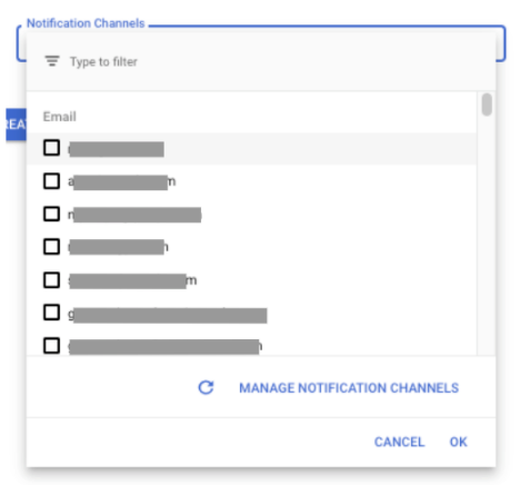 Notification dialog displaying the refresh and manage channels buttons.