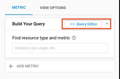 Interface do usuário para selecionar o editor de consultas.