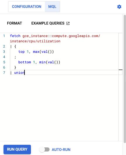 User interface for entering a query into the Query Editor.