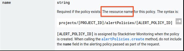 API リファレンスの「リソース名」