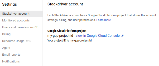 Stackdriver account settings