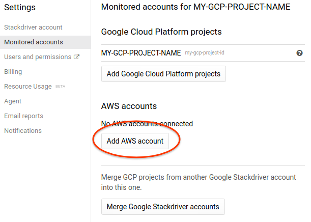Stackdriver monitored accounts