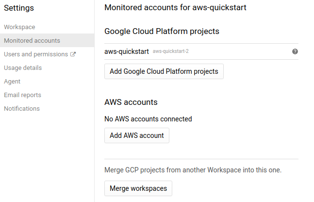 Contas monitoradas do Stackdriver