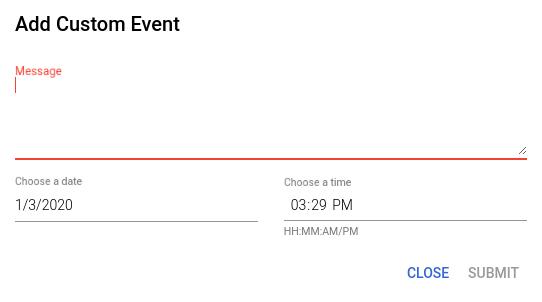 Custom event creation dialog.