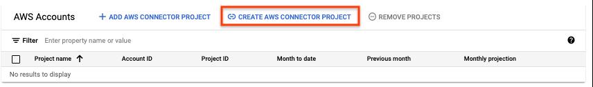 Botón Crear proyecto de conector de AWS.