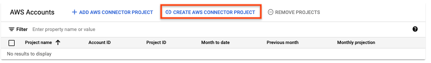 Create AWS connector project button.