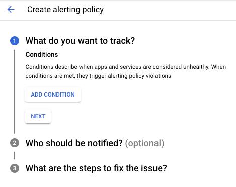 """La boîte de dialogue """"Create New Alerting Policy"""" (Créer une règle d'alerte) s'affiche."""