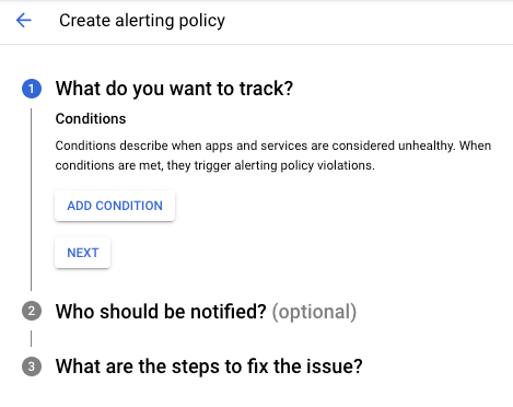Create an alerting policy dialog is displayed.