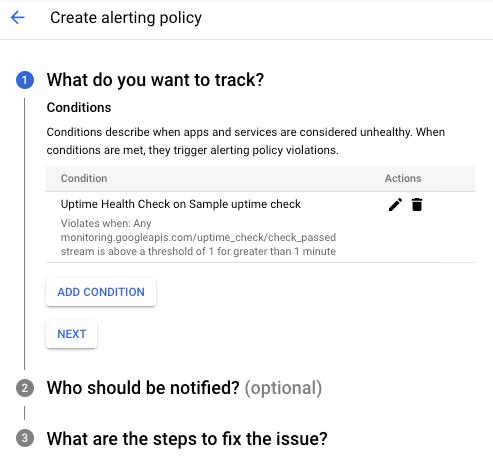 """Boîte de dialogue """"Create New Alerting Policy"""" (Créer une règle d'alerte)"""
