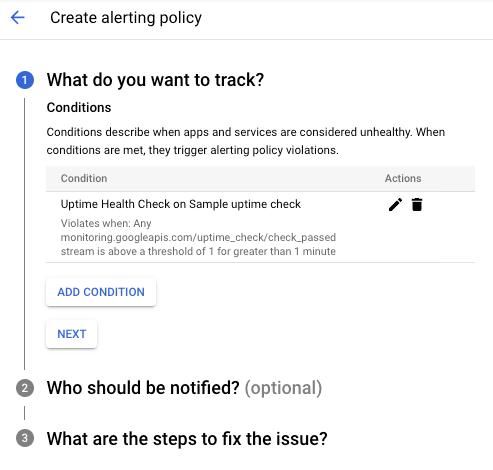 Create a new Alerting Policy dialog.