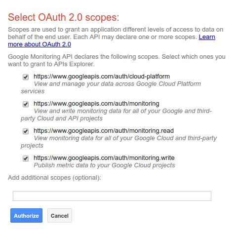 APIs Explorer authorization