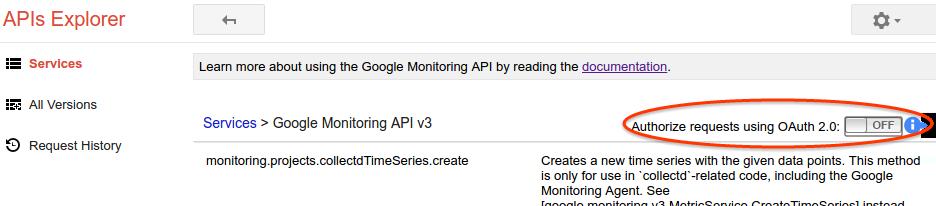 APIs Explorer フォーム
