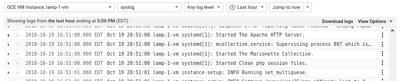View logs from console
