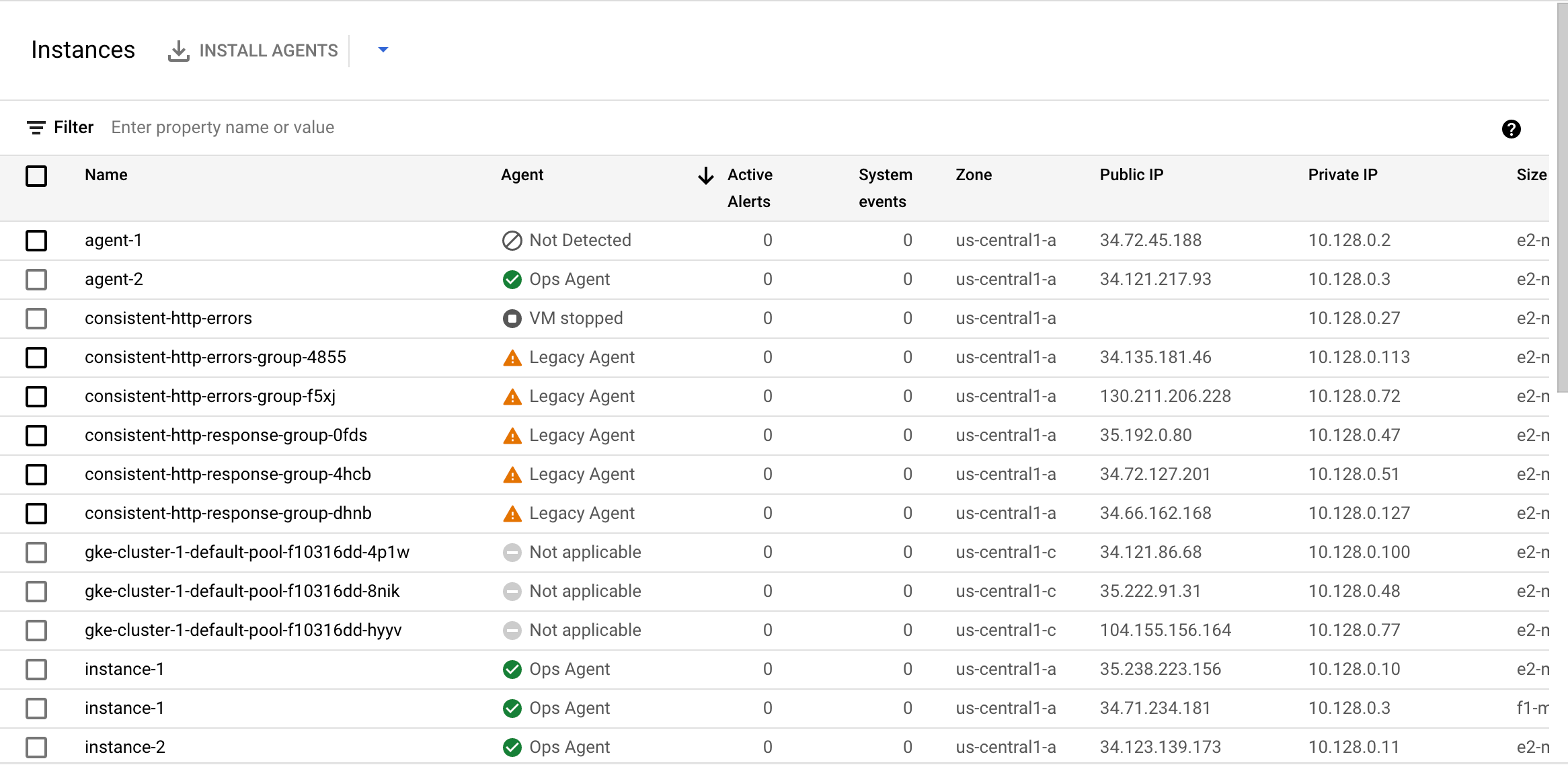 The VM Instances dashboard in Monitoring shows the status of agents.