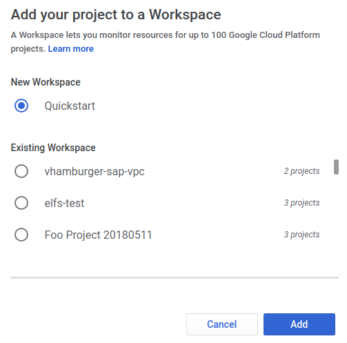 Add to existing or choose to create new workspace dialog.