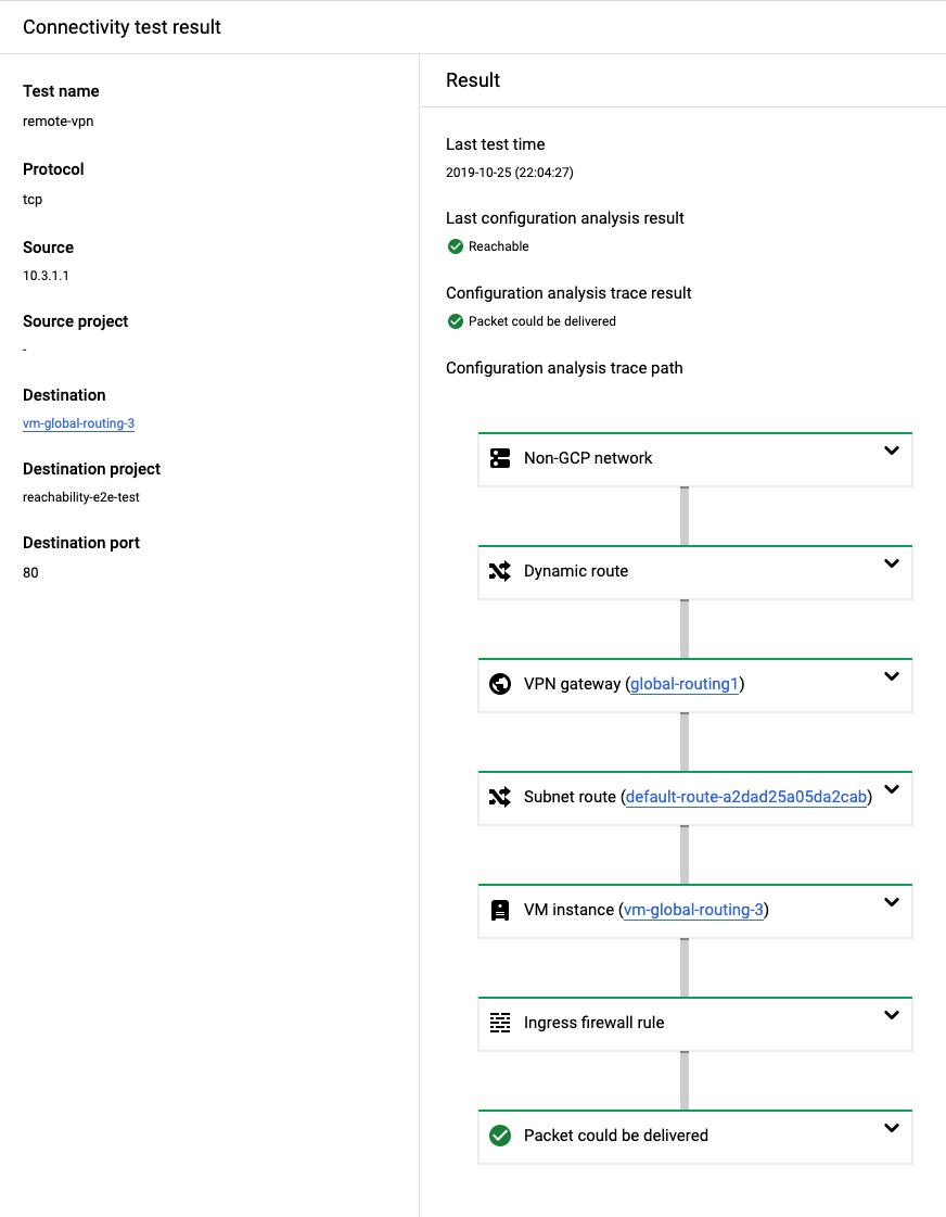 Resultado de ejemplo para una prueba exitosa de una ubicación local en Google Cloud.