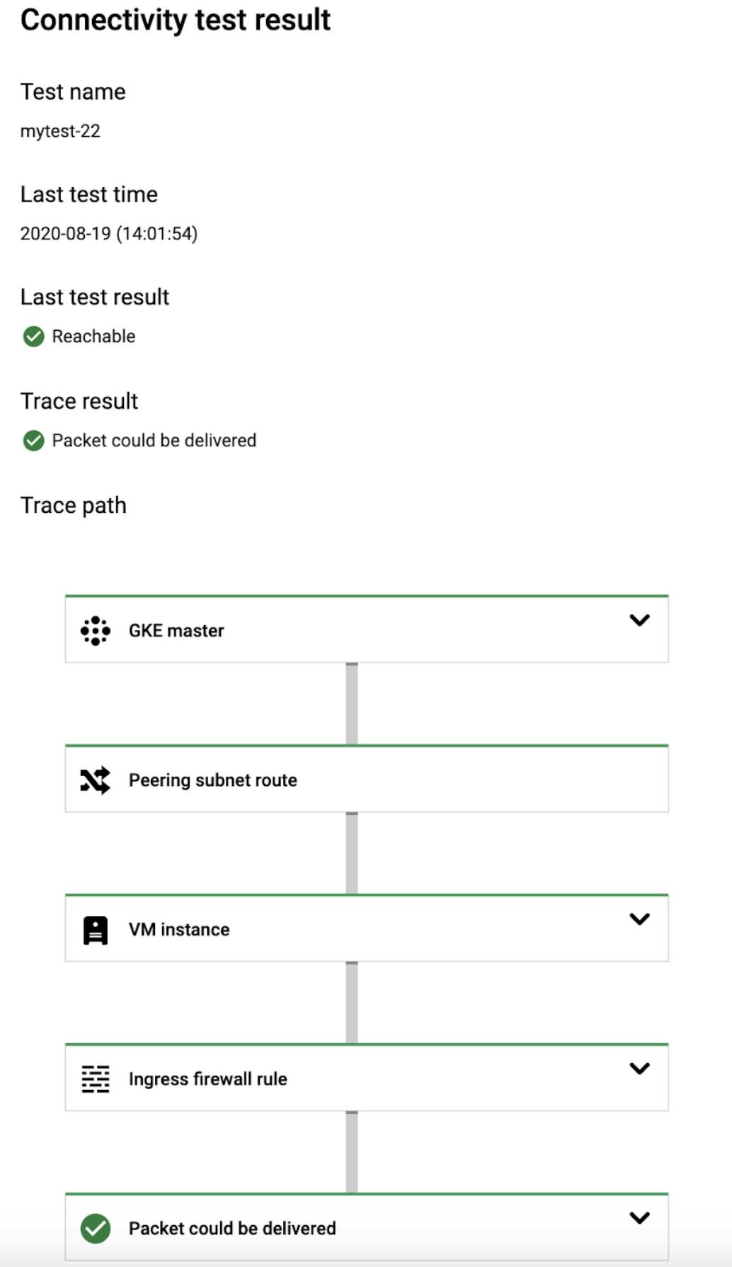 Capture d'écran de CloudConsole pour la trace d'un plan de contrôle vers un nœud GKE.