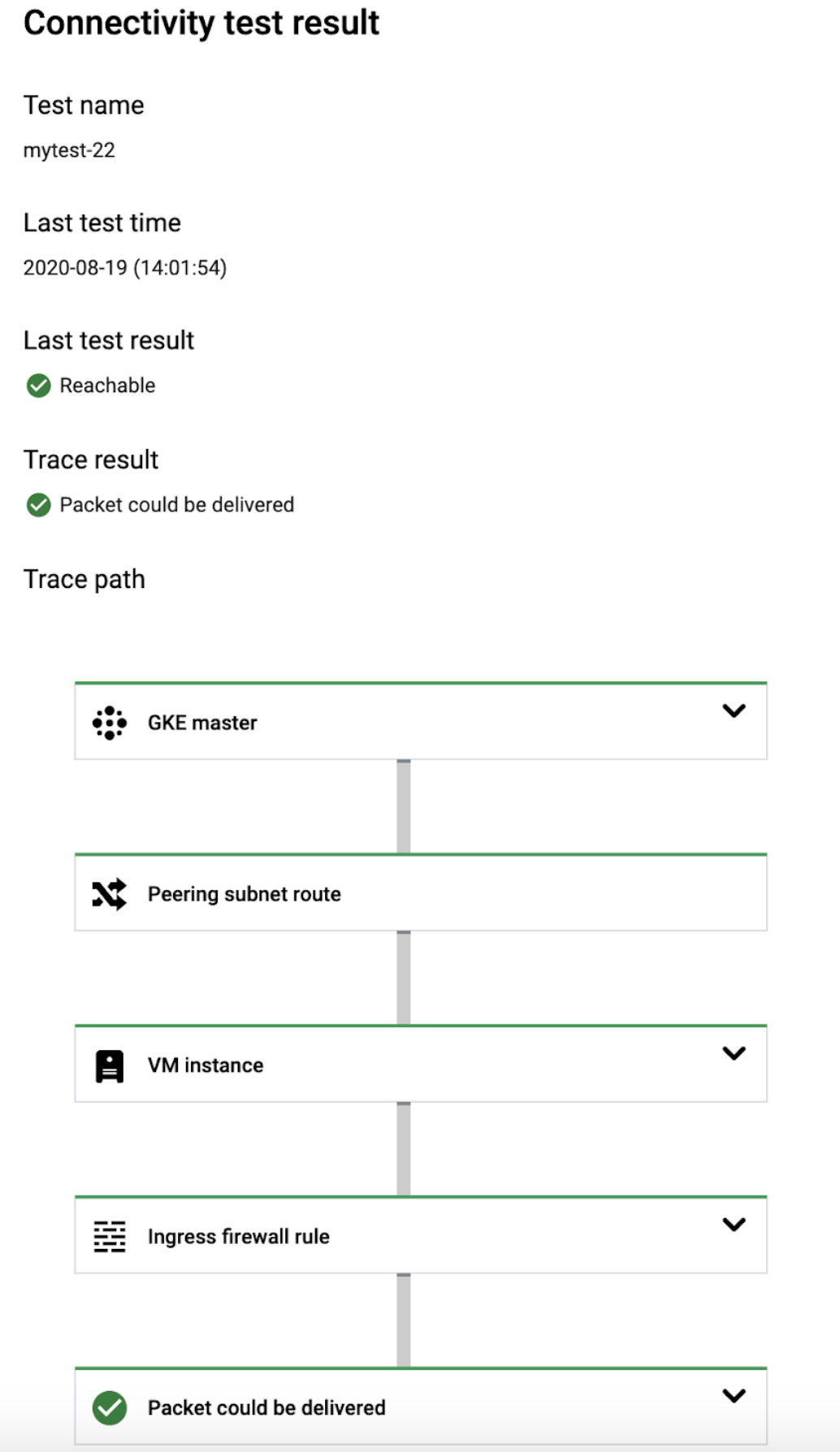 Cloud Console screenshot for GKE control plane to node trace.