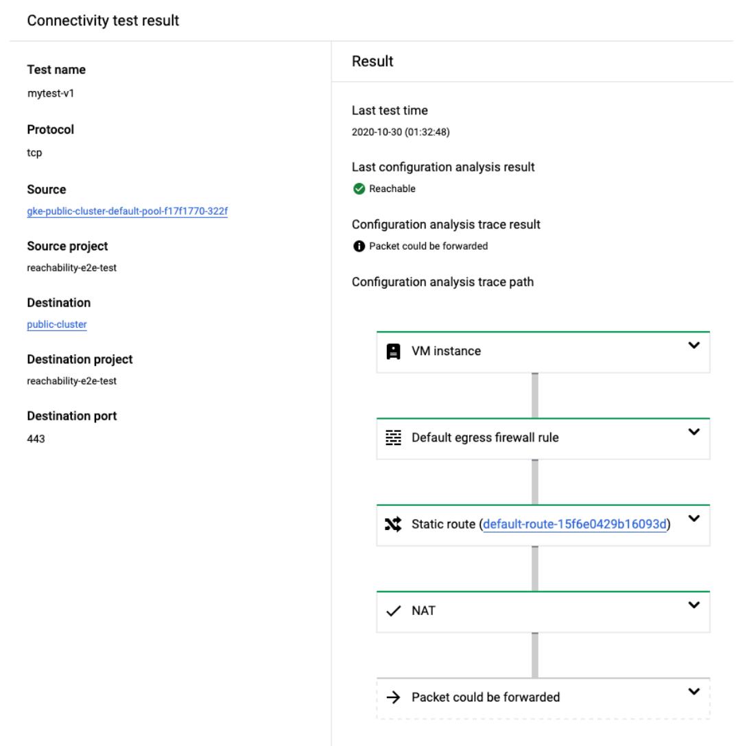 通过公共 IP 地址进行 GKE 节点到主实例测试的跟踪记录 Cloud Console 屏幕截图。