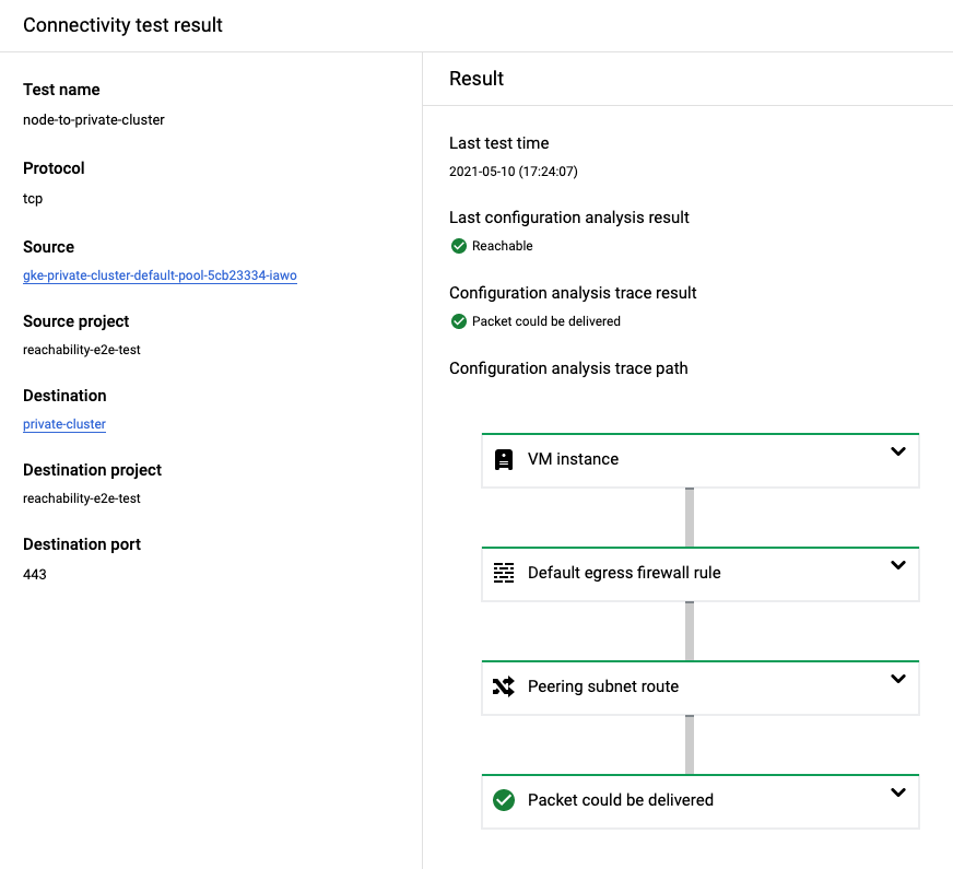GKE ノードからマスターへのトレース結果が表示されている Cloud Console のスクリーンショット。