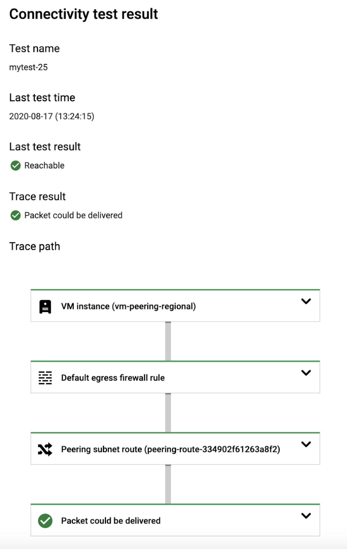 虚拟机到 Cloud SQL 跟踪记录的 Cloud Console 屏幕截图。
