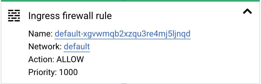 Card de regras do firewall de entrada expandido.