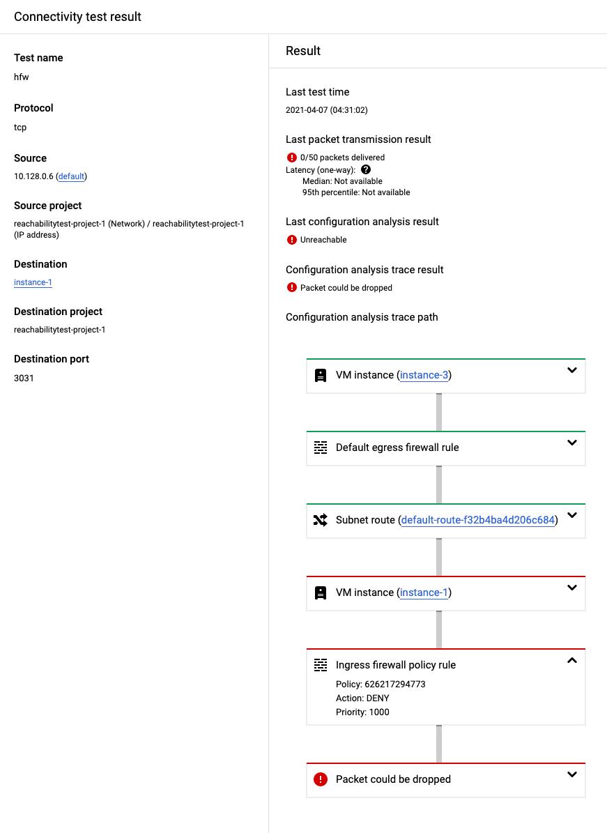 階層型ファイアウォール ポリシールールによってブロックされているトレースの Cloud Console のスクリーンショット。