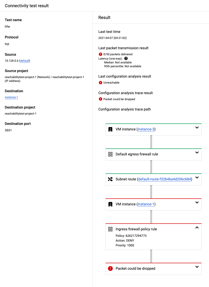 Captura de tela do Console do Cloud para um trace bloqueado por uma regra de política de firewall hierárquica.