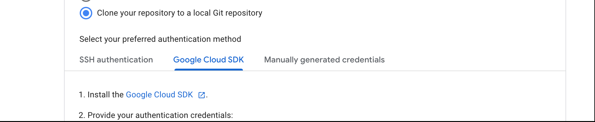 指示に従って、ローカル Git リポジトリにリポジトリのクローンを作成します