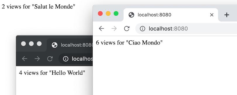 さまざまな言語で挨拶が表示されている複数のアプリ ウィンドウ。