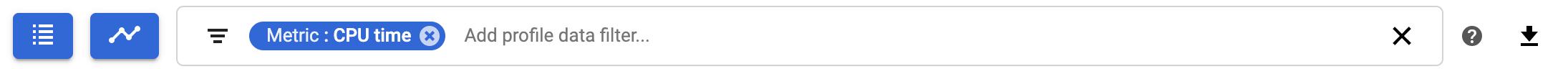 Profiler filter bar