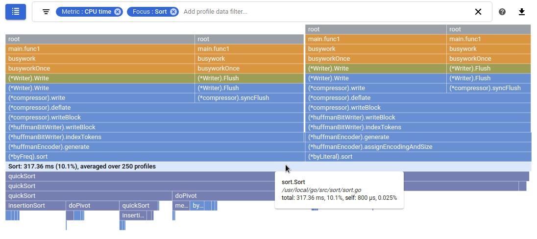 sort 함수에 포커스가 지정된 Flame 그래프