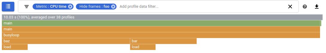 [フレームを非表示] で CPU 使用量がフィルタされている Profiler のグラフ
