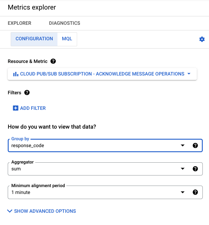 Use Stackdriver to to search for expired message acknowledgement deadlines
