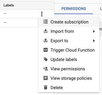 The context menu with the Create subscription option highlighted.