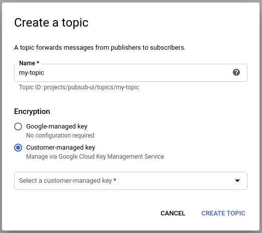 """Se você não vir a lista suspensa """"Selecionar uma chave gerenciada por cliente"""",          certifique-se de que ativou a API KMS para o projeto."""