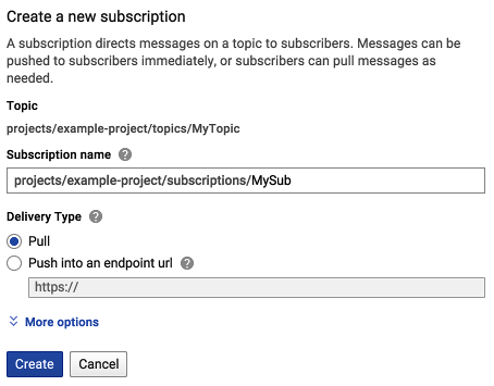 Shows the new subscription dialog and typing your subscription           name in the Subscription name field.