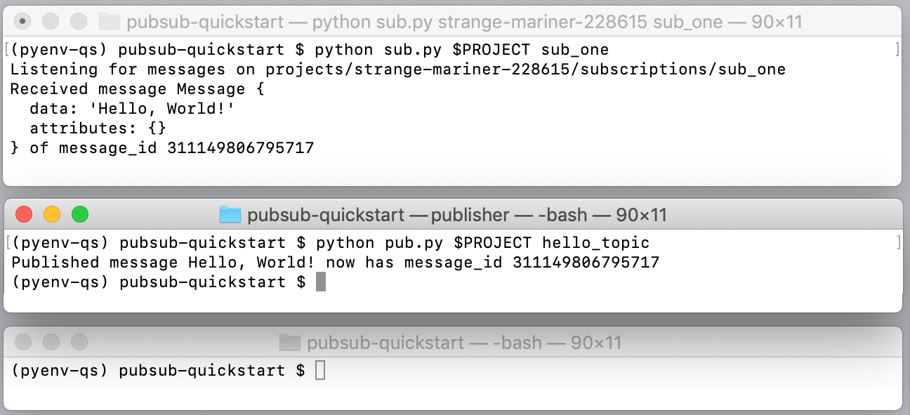 """发布者应用发布消息并分配消息 ID。订阅者 1 应用接收""""Hello World""""消息并发送确认。"""
